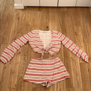 Lovers & Friends striped pink and white set